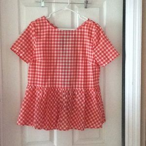 Orange/White Checkered Peplum Blouse w/ Back Ties
